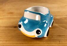 Hand painted Ceramic Egg Cup Blue Car Fun Breakfast Glazed Retro Vehicle