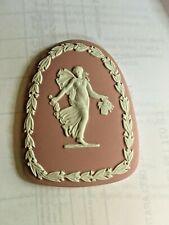 Wedgwood Jasperware RARE Pink Tombstone Dancing Hours Medallion Plaque NICE! 4av