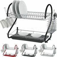 2 Tier Chrome Plate Dish Drainer Rack Cutlery Cup Drip Tray Plates Holder New SS