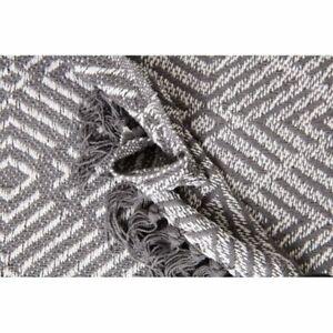 Plaid, Fouta, Jeté de Lit 100% Coton 120 x 160 cm avec Franges Motif Géométrique