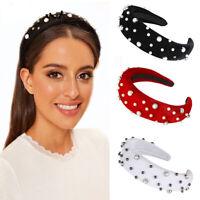 Womens Girls Elegant Pearl Velvet Headband Hair Hoop Accessories Party Wedding