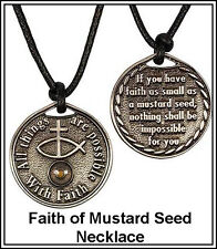Graduation Man Boy Religious Jewelry Mustard Seed Necklace Scripture Coin