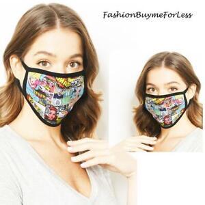Adult Multicolor COMICS Print Reusable Cotton UNISEX Protective Cover Face Mask