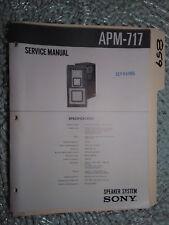 Sony apm-717 service manual original repair book stereo speakers 2 pages
