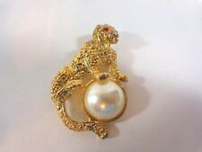"Cheetah Leopard Cat Pin Brooch 2.5"" Red Eyes Pearl Ball Gold Tone"