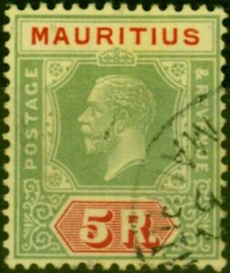 Mauritius 1924 5R Green & Red-Yellow SG240 Very Fine Used