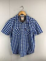 Levi Strauss Men's Short Sleeved Button Up Shirt Size L Blue Check