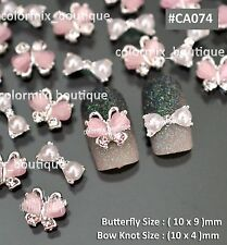 3D Pink Butterfly White Bow Knot Nail Art Tips Alloy Jewelry Accessories #CA074