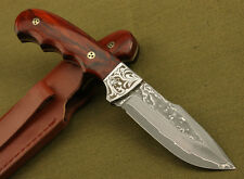 Knife- Forged Handmade Damascus fixed Blade 58HRC with Leather Sheath