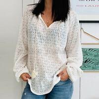 ZANZEA Femme Chemise en dentelle Manche Longue Col V Décontracté lâche Shirt
