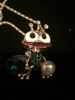 Betsey Johnson Blue Crystal Pearl Crown Frog Pendant Necklace NWT USA Seller