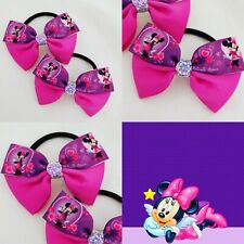 GIRLS PURPLE DISNEY MINNIE MOUSE HAIR BOW PAIR BOBBLES HAIRBANDS MADE IN RIBBON