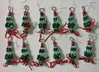 12 Handmade Beaded Christmas Tree Ornaments with Jingle Bells