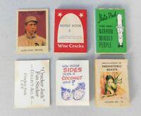VINTAGE CRACKER JACK PRIZES, MINIATURE BOOKS, WISE CRACKS, BASEBALL CARD, RIDDLE
