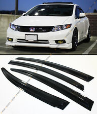 MUGEN STYLE SMOKED WINDOW VISOR RAIN/SUN SHADE FOR 2012-2015 HONDA CIVIC 4 DOOR