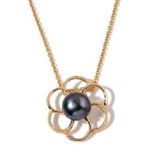 """Fresh Water Peacock Pearl Floral Pendant In Gold Tone With 20"""" Chain - New"""
