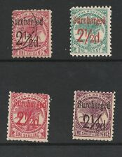 SAMOA 1898 SURCHARGES  -  MINT = USED CAT £90+