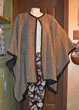RALPH LAUREN! BLACK AND WHITE TWEED & LEATHER CAPE PONCHO! NEW! S/M! $398!