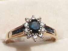 Q111 Ladies 9ct gold Sapphire and Diamond cluster engagement ring size R 1/2