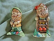 Vintage Pair 1970's Hand Painted Smiling Ceramic Garden Gnomes/Elves