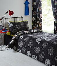 """SUGAR SKULLS 66"""" x 72"""" LINED CURTAINS BLACK GREY SILVER WHITE RED YELLOW MULTI"""