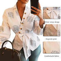 Womens V-Neck Blouse Shirt Clothing Lantern Sleeve Printed Office Shirts Tops US
