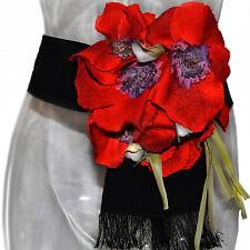 Dolce & Gabbana Black Cotton SICILY Red Poppies Flowers Embellished  Waist Belt