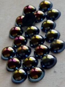 Halbperlen Acryl 10mm Black AB, Menge wählbar