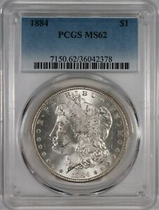1884 $1 Morgan Silver Dollar Coin PCGS MS62