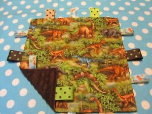 Green Classic Dinosaurs Cotton/Minky Baby Tag Ribbon Security Blanket