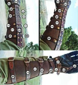 Medieval PU Leather Rivet Arm Wrist Wide Cuffs Bracers Warrior Gauntlet Glove
