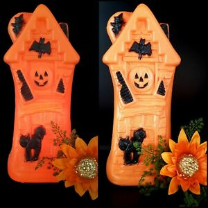 "VINTAGE Halloween Blow Mold Light Up ORANGE Haunted House Mansion -17"" w Cord"