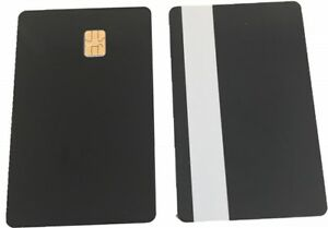 10 X Pcs ISO Black PVC IC With SLE4442 Chip Blank Smart Card & Silver Magstripe