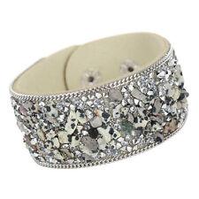 Retro Vintage Women Ladies Stone Beaded Leather Wristband Bangle Bracelet Cuff