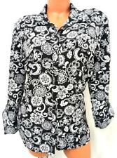 Notations black white floral 3/4 sleeves layer look buttoned down plus top XL