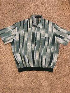 Vintage Alan Stuart Banded Polo Stretch Polyester Green White Shirt Men's XL