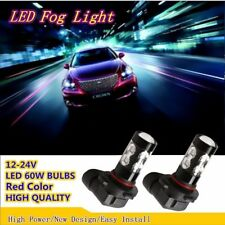 2X Red H8 H9 H11 Car LED Fog Bulbs 60W Error Free Driving Lights 12 SMD Lamps US