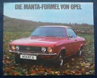 OPEL MANTA - L - SR Car Sales Brohure 1971 GERMAN TEXT #OM 16-171/150 III