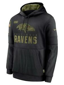 NIKE BALTIMORE RAVENS 2020 SALUTE TO SERVICE NFL THERMA PULLOVER HOODIE L
