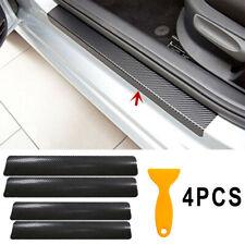 4pcs Carbon Fiber Car Door Plate Sill Scuff Cover Anti Scratch Sticker Protector