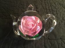 Genuine Art Glass Teapot with Pink Rose Paperweight Figurine
