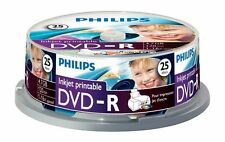 25 Philips DVD-R Inkjet Printable DVD 25 Blank Recordable DVD Discs