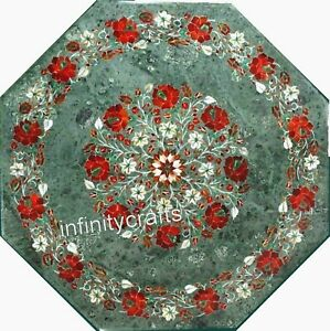 21 Inches Green Octagon Center Table Top Marble Coffee Table with Gemstones