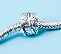 Genuine SOLID Sterling Silver charm bead angel wings feather fits bracelets AUM
