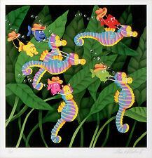 Stewart Moskowitz Limited Edition Silkscreen Fine Art Seahorses Sea Horses Stu