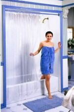 SUPER CLEAR HEAVY-DUTY VINYL SHOWER CURTAIN ~ HOTEL WEIGHT ~ METAL GROMMETS