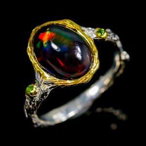 Handmade Unique Black Opal Ring Silver 925 Sterling  Size 8 /R152045