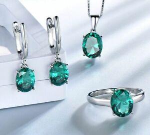 Braut Schmuck Set Smaragd Stein Ring Anhänger Ohrringe Echt Silber 925 Geschenk.