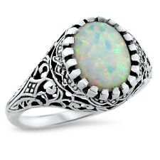 WHITE LAB OPAL ANTIQUE FILIGREE DESIGN 925 STERLING SILVER RING SIZE 9.75,  #629