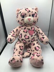 Build A Bear BAB Kitty Cat Heart Cheetah Leopard Pink Plush Stuffed Toy Animal